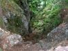 Der Steig endet in einem Waldweg.
